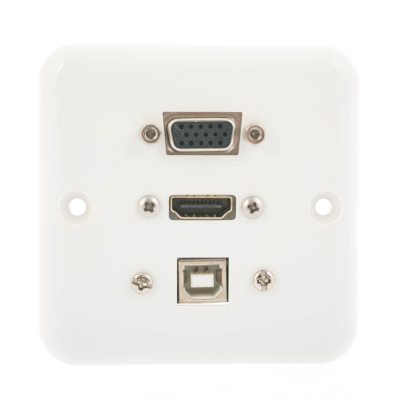 European Plug and Play Wall Plate. HDMI, SVGA and USB B Female Connections. Single Gang White Plasitc