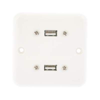 European Plug and Play Wall Plate. Twin USB A Female Connections. Single Gang White Plastic 80mm x 80mm