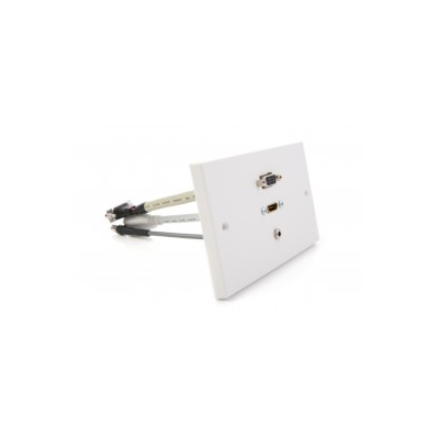 White Double Gang Hdmi, Vga, 3.5Mm Wall Plate