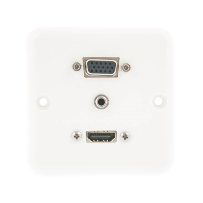 European Plug and Play Wall Plate. HDMI, SVGA and Audio Female Connections. Single Gang White Plastic. 80mm x 80mm