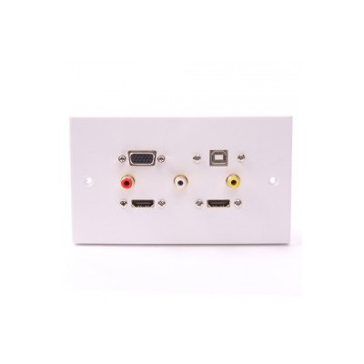 White Double Gang Twin HDMI, VGA, USB B-A (15cm), 3 RCA Wall Plate.