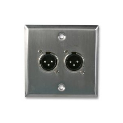 Metal Single Gang Twin XLR Plug Solder Wall Plate