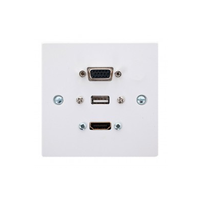 Single Gang Wall Plate Hdmi 4K, Vga, Usb A-A Plug And Play