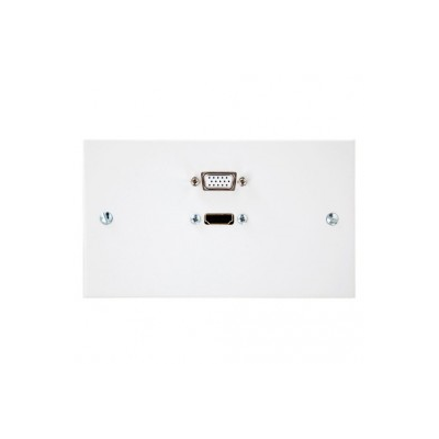 Double Gang HDMI, VGA Wall Plate. 1 to 10 Metres