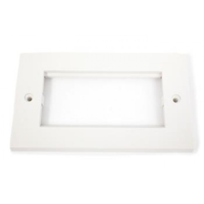 White Double Gang Wall Plate Frame. 4 Euro Modules
