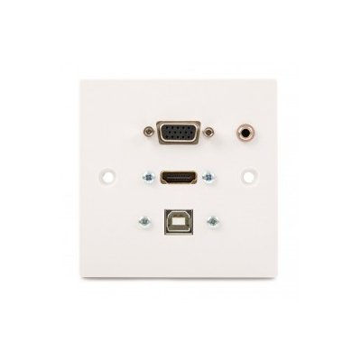 White Single Gang HDMI, VGA, USB B-B, 3.5mm.Wall Plate. 1 to 10 Metres