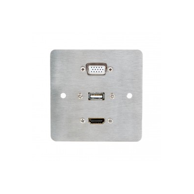 Metal Single Gang Wall Plate Hdmi, Vga, Usb A