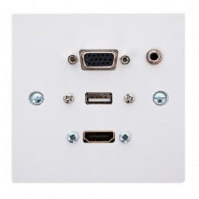 Single Wall Plate. HDMI, VGA, USB A-A, 3.5mm. 15cm Plug and Play