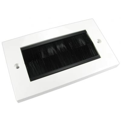 White Double Gang Black Brush Wall Plate