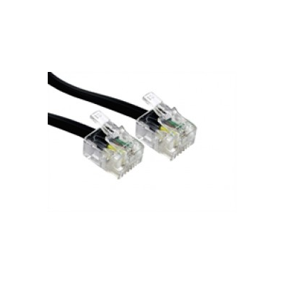 1m Black Modem Cable. RJ11 Plug to Plug 6P4C