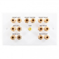 White Double Gang 7:1 Speaker Wall Plate. 14 Binding Post Connections, 1 Sub Woofer RCA Connector