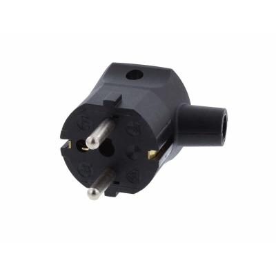 Black Schuko Rewirable Plug. Right Angle Moulded Strain Relief  1mmsq Cable