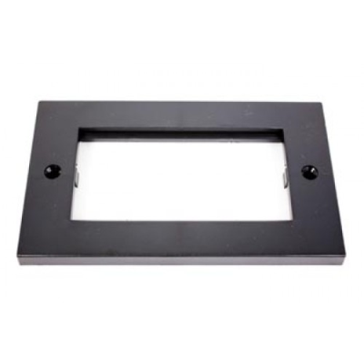 Black Double Gang Wall Plate Frame. 4 Euro Modules
