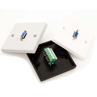 White Single Gang Horizontal Vga Screw Terminal Pcb Wall Plate