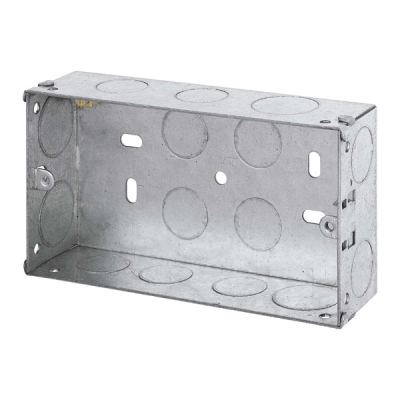 35mm Deep - Double Gang Metal Back Box (Dry Lining / Wall)