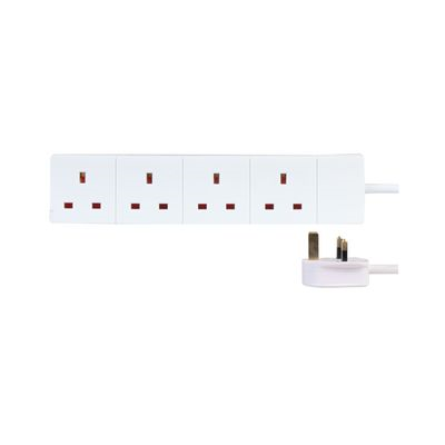 White 4-Gang UK Extension Lead - 2m Lead