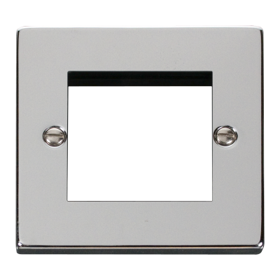 2 Gang Polished Chrome Wall Plate Frame. 86x86mm