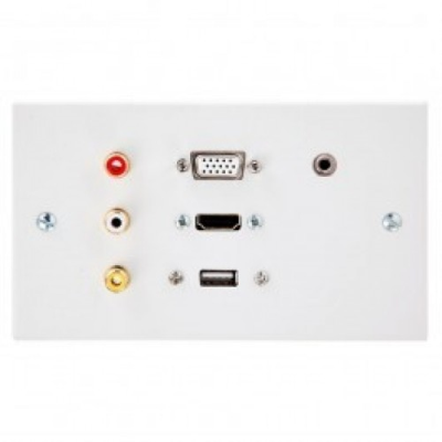 Double Gang Wall Plate Hdmi, Vga, Usb A, 3.5, Rca