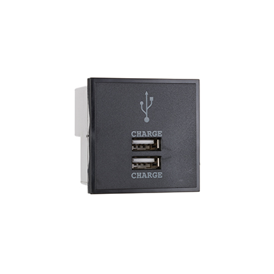 2 Amp Black Twin USB Charger Module. 2A or (2 x 1A)