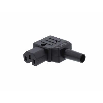 Black C15 Left Angle Rewirable IEC Plug. Hot Condidtion IP20