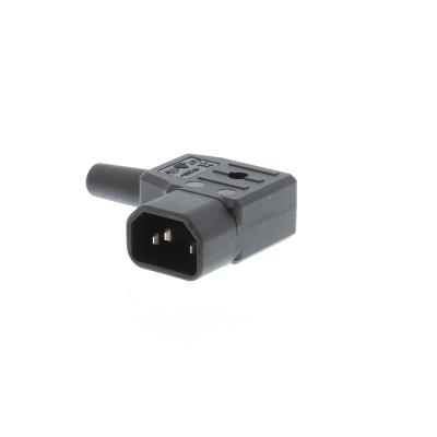 Black C14 Right Angle Rewirable IEC. 10A 250v IP20
