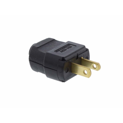 Black USA 2 Pin Rewirable Plug.