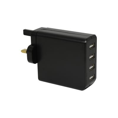 Black Four Port USB Charger (4.2 Amp)