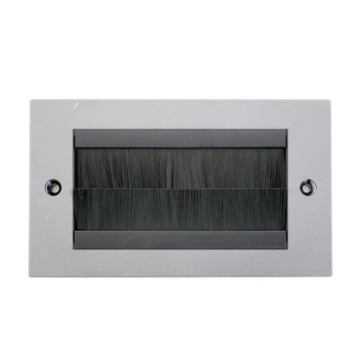 Double Gang Wall Plate - Grey Frame With Black Brushes