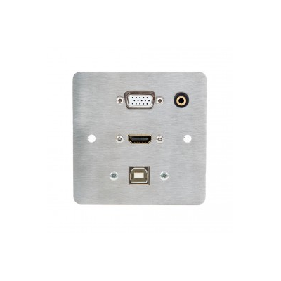 Single Gang Metal Wall Plate. HDMI, VGA, USB B and 3.5mm.