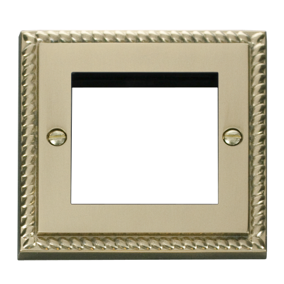 2 Gang Georgian Brass Wall Plate Frame. 86x86mm