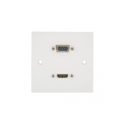 Single Gang HDMI, SVGA Wall Plate. 1 to 10 Metres