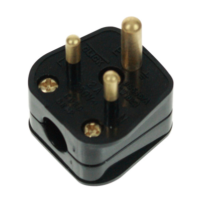 Black 2 Amp 3 Pin Round Plug Bs546
