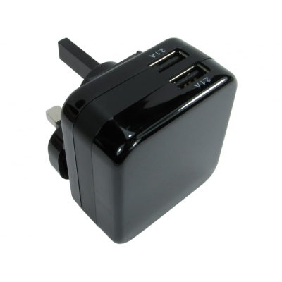 Black Two Port USB Charger (4.2 Amp)