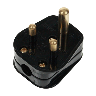 Black 5 Amp 3 Pin Round Plug