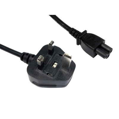 2m UK Plug to C5 Cloverleaf Mains Lead - Black