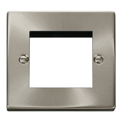 2 Gang Satin Chrome Wall Plate Frame. 86x86mm