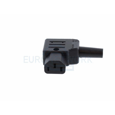Black C13 Left Angle Rewirable IEC. 10 Amp