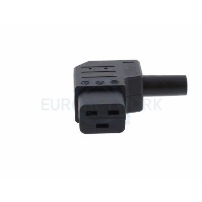 Black C19 Right Angled Rewireable Socket. 16A