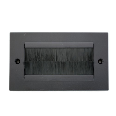 Double Gang Brush Wall Plate Black Brushes