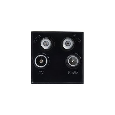 Quad Audio Visual Euro Module:  2 x Satellite, 1 x TV and 1 x Radio. 50mm x 50mm