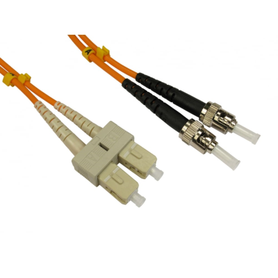 2m ST-SC OM1 Fibre Patch Lead (Multi-Mode) - Grey