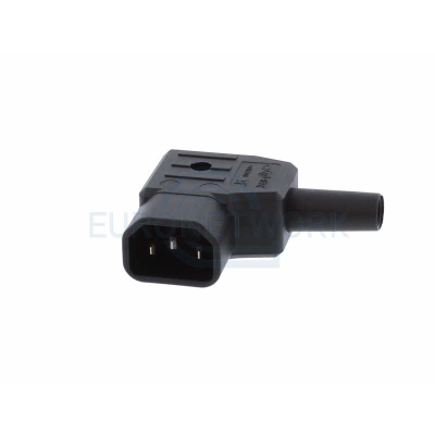 Black C14 Left Angle Rewireable IEC. 10 Amp