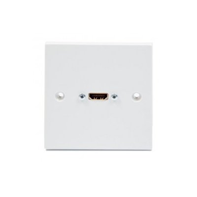 15m White Single Gang HDMI Wall Plate. 4K2K