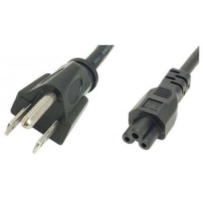 2m US Plug to Cloverleaf C5 Mains Lead - Black