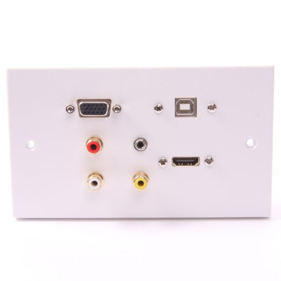 White Double Gang HDMI, VGA, USB B-B, 3.5mm, 3 RCA Wall Plate.