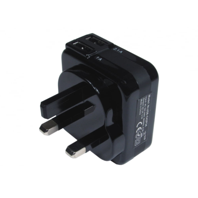 Black Two Port USB Charger (3.1 Amp)