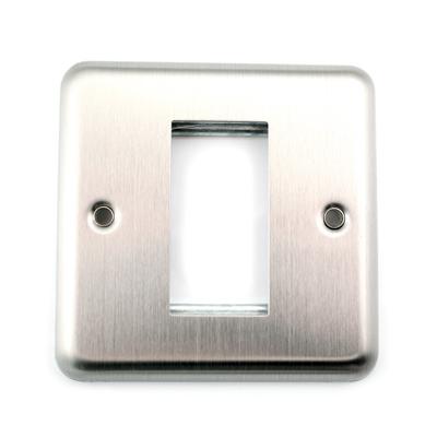 Round Edge Brushed Steel Frame. 1 Euro Module