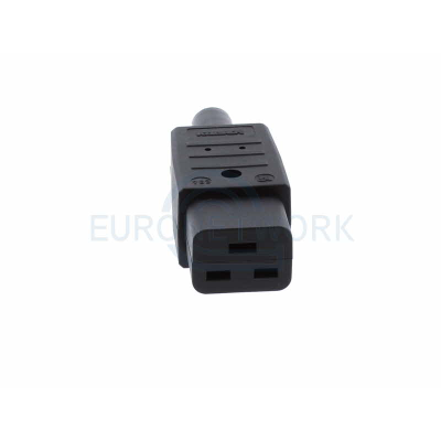 Black C19 Straight Rewireable IEC. 16A 250V IP20