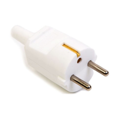 White Rewireable European Plug - Straight (VDE Approved)