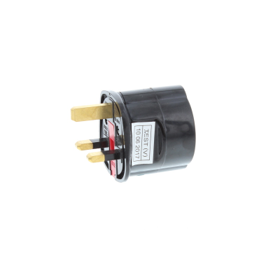 European Schuko to UK Plug Travel Adaptor - Black